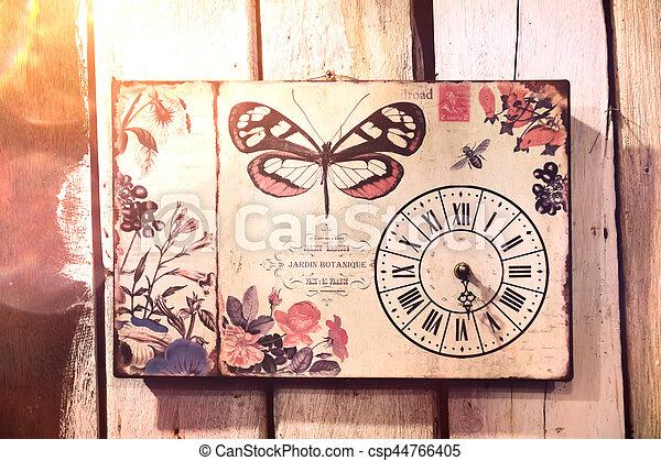 vendemmia, orologio, wall. - csp44766405