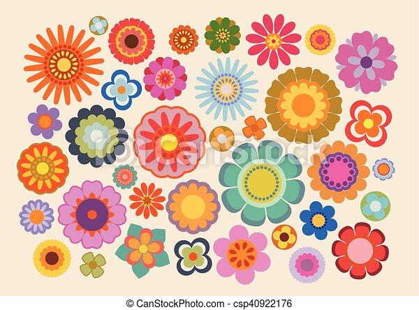 Fiori 70 Anni.Vendemmia Part Fiori 4 Anni Settanta Colori Illustrazione