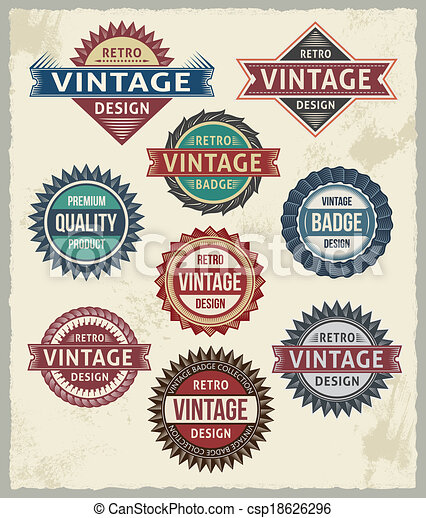 vendemmia, progetta, distintivo, retro, etichetta - csp18626296