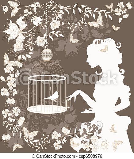 vendemmia, ragazza, uccello - csp6508976