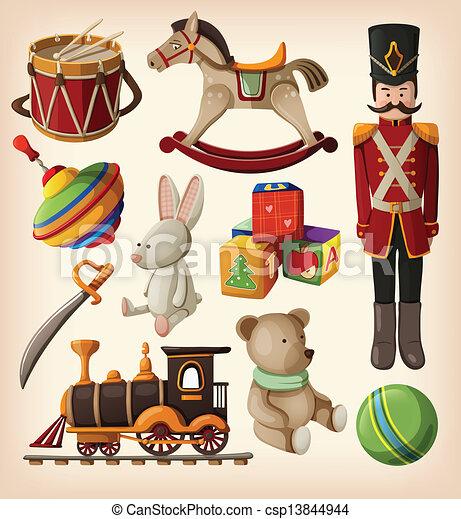 vendemmia, set, colorito, giocattoli - csp13844944
