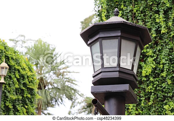vendemmia, stile, giardino, lampada - csp48234399