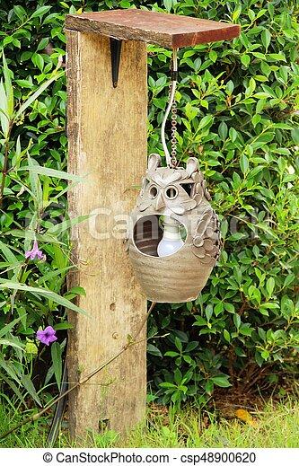 vendemmia, stile, giardino, lampada - csp48900620