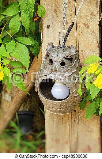 vendemmia, stile, giardino, lampada - csp48900636