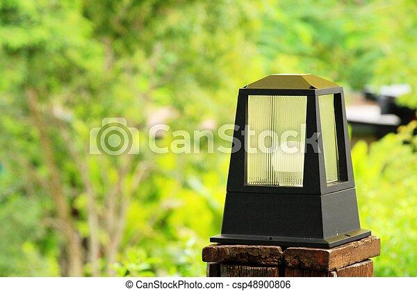 vendemmia, stile, giardino, lampada - csp48900806