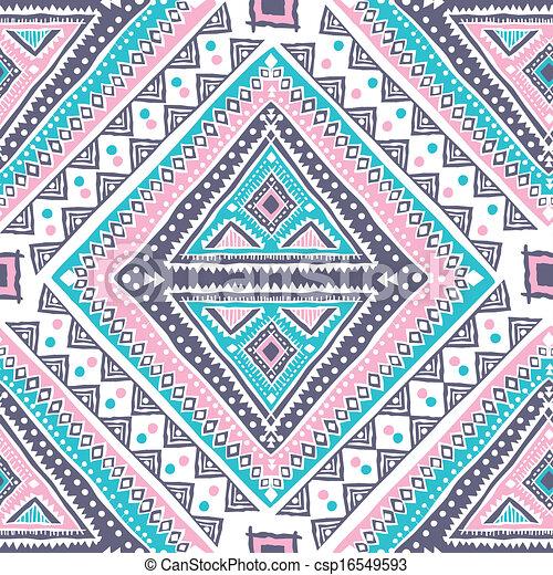 vendemmia, tribale, etnico, seamless, modello - csp16549593