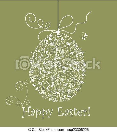 vendemmia, uovo di pasqua, merletto - csp23306225