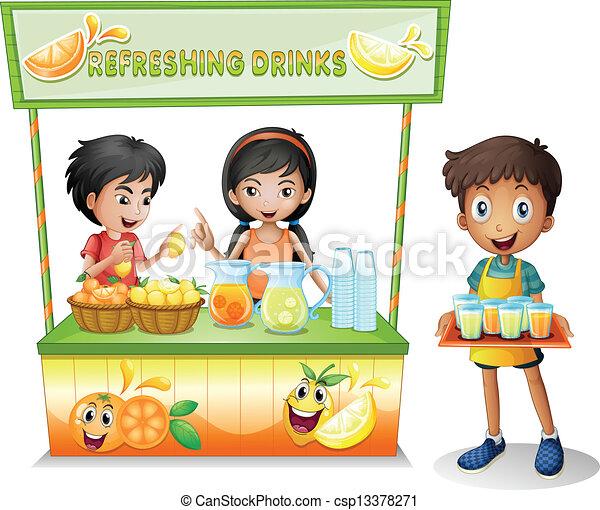 vender, crianças, tenda, refrescar, bebidas - csp13378271