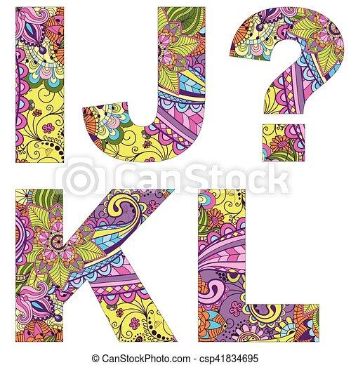 El alfabeto inglés con un colorido patrón antiguo - csp41834695