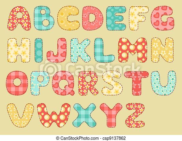 El alfabeto de colcha antiguo. - csp9137862