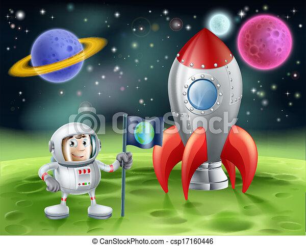 Astronauta de dibujos animados y cohete antiguo - csp17160446
