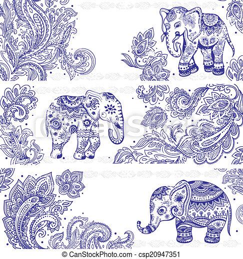Un conjunto de banderas antiguas con elefantes étnicos - csp20947351