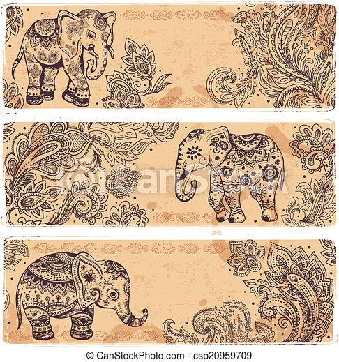 Un conjunto de banderas antiguas con elefantes étnicos - csp20959709