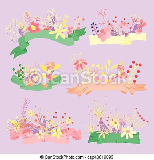 Flores antiguas saludando banderas - csp40619093