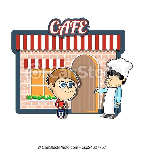 Vendimia, café, caricatura, ilustración. Niño, atrayente ...