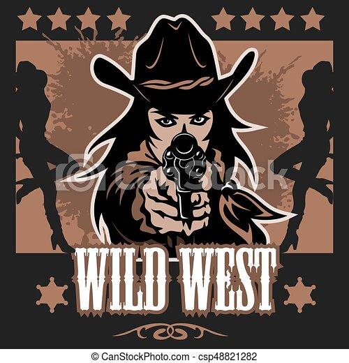 Un póster del salvaje oeste con colchones cruzados - csp48821282