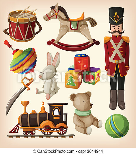 vendimia, conjunto, colorido, juguetes - csp13844944