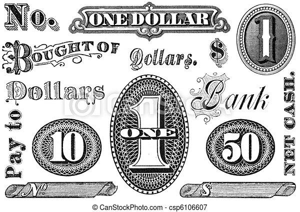 Un conjunto de elementos financieros antiguos - csp6106607