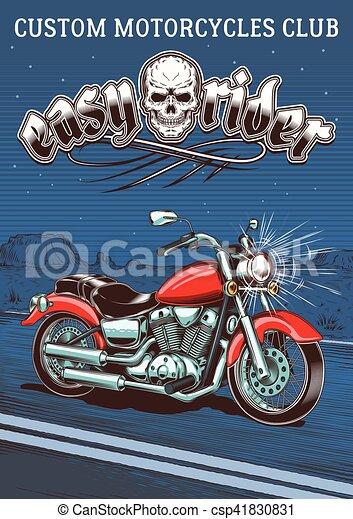 Una motocicleta antigua en el fondo del desierto nocturno - csp41830831