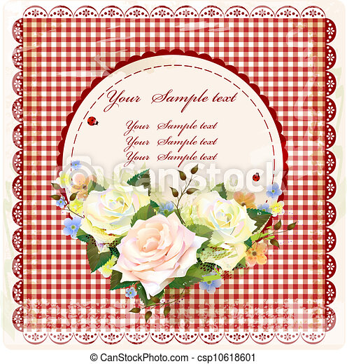 Diseño antiguo con rosas - csp10618601