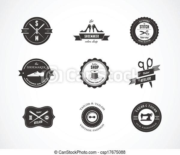 Marcas de costura antiguas, elementos y placas - csp17675088