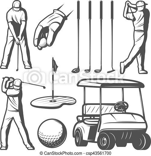 Colección de elementos antiguos de golf - csp43561700