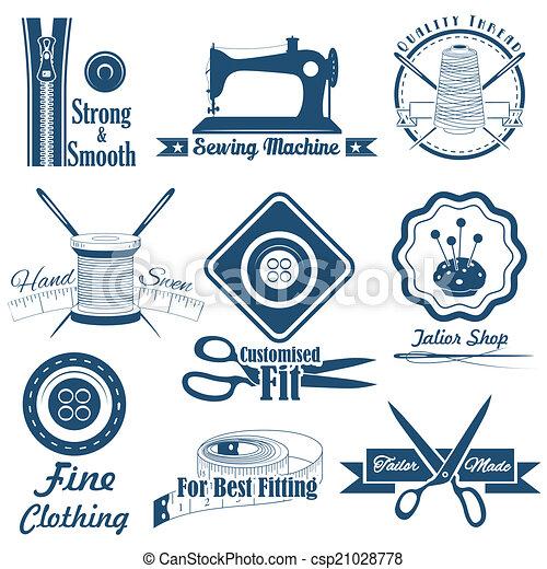 Costura de estilo antiguo y etiqueta de sastre - csp21028778