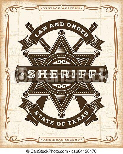 Gráficos de etiqueta del sheriff occidental - csp64126470