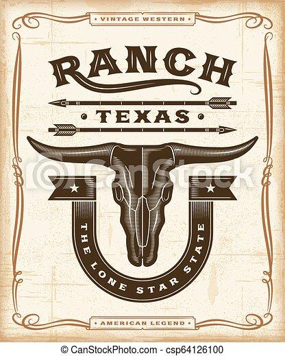 Gráficos de etiquetas del rancho occidentales - csp64126100