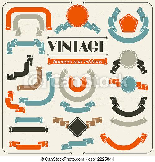 Colección de etiquetas y cintas en estilo retro vintage. - csp12225844
