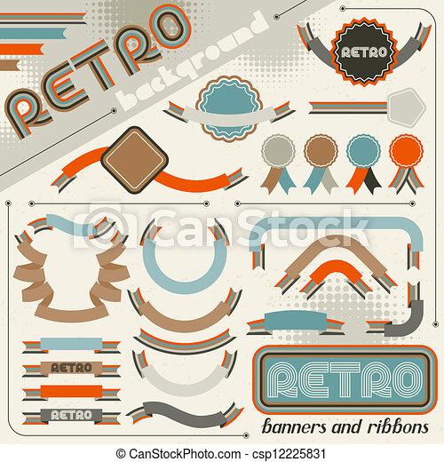 Colección de etiquetas y cintas en estilo retro vintage. - csp12225831