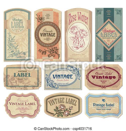 vendimia, etiquetas, conjunto, (vector) - csp4031716