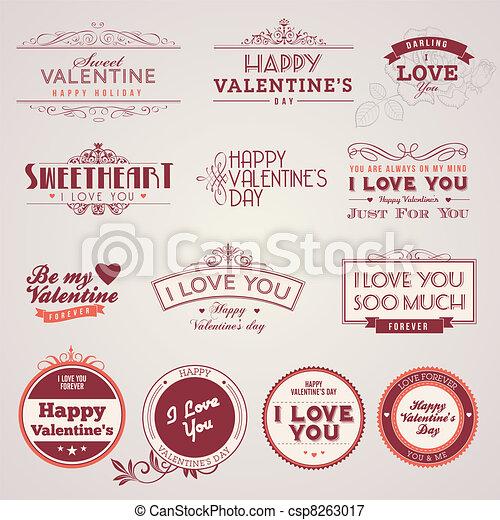 vendimia, etiquetas, día, valentino - csp8263017
