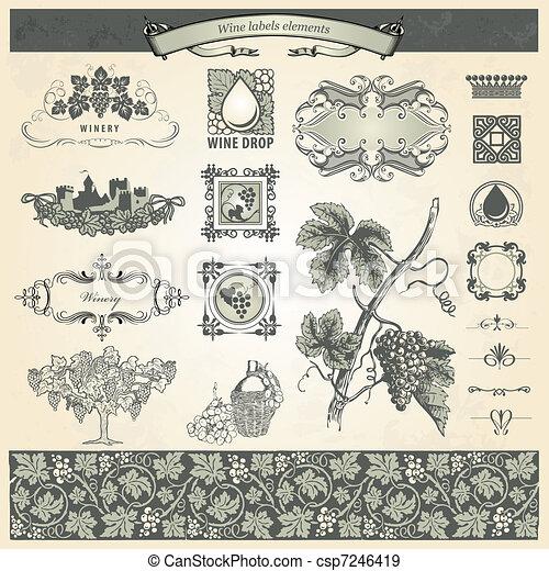 Los elementos antiguos para las etiquetas de vino - csp7246419