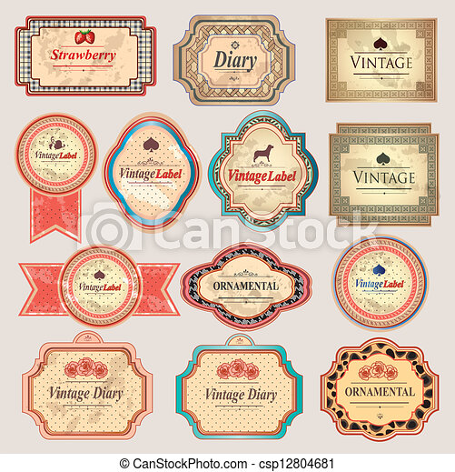 Etiquetas vintage retro - csp12804681