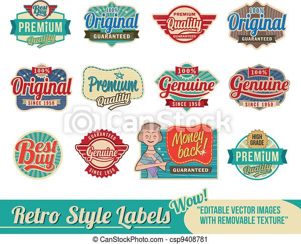 vendimia, etiquetas, retro, etiquetas - csp9408781