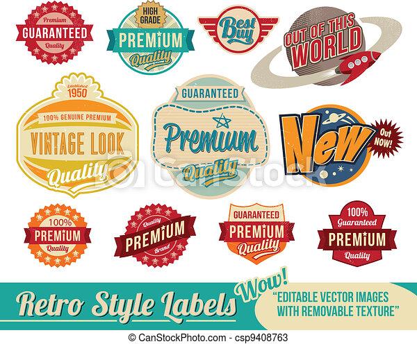 vendimia, etiquetas, retro, etiquetas - csp9408763