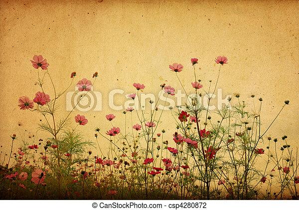 vendimia, flor de papel, plano de fondo - csp4280872