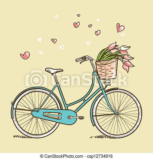 vendimia, flores, bicicleta - csp12734916