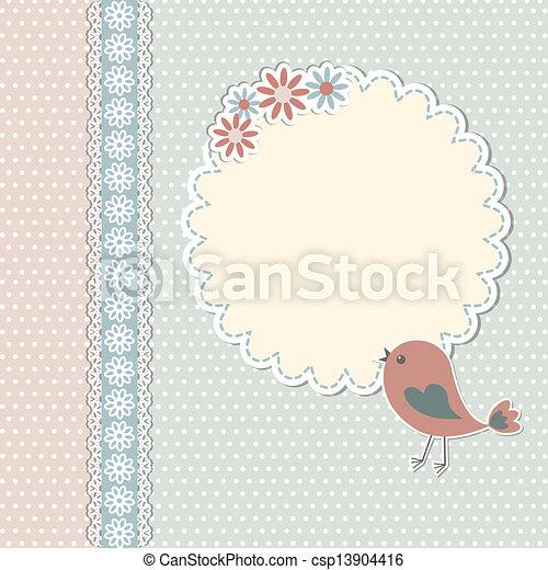Temperatura de vitrina con aves y flores - csp13904416