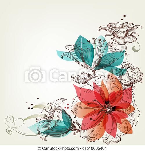 vendimia, flores, plano de fondo - csp10605404
