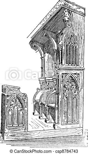 Vendimia Francia Establo Anellau Iglesia Engraving
