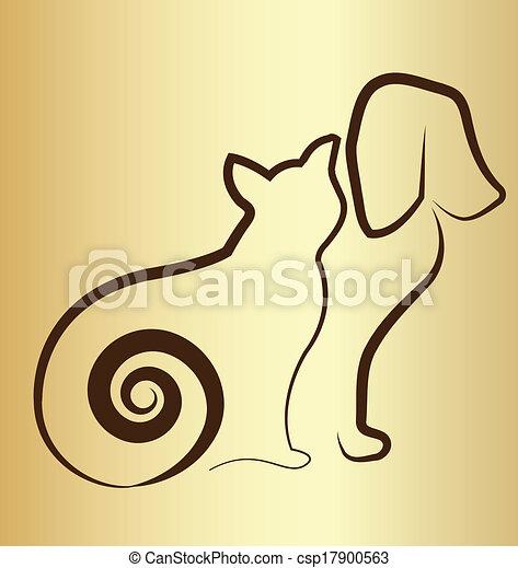 Logo de gato y perro vintage - csp17900563
