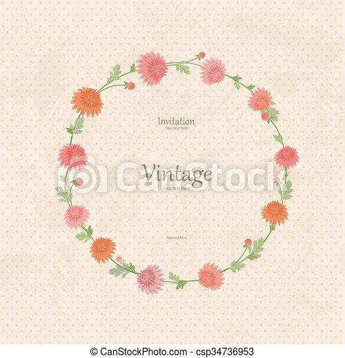 vendimia, guirnalda, flores del resorte, su, design. - csp34736953