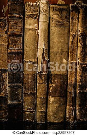 vendimia, libros, fila - csp22987807