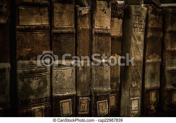 vendimia, libros, fila - csp22987839