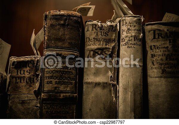 vendimia, libros, fila - csp22987797