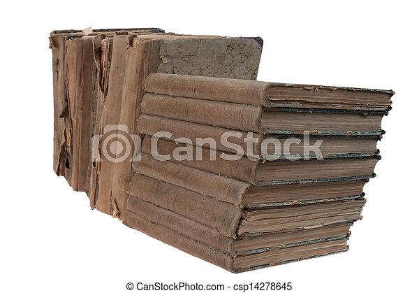 vendimia, libros, viejo, fila - csp14278645