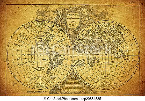 Mapa antigua del mundo 1752 - csp20884585