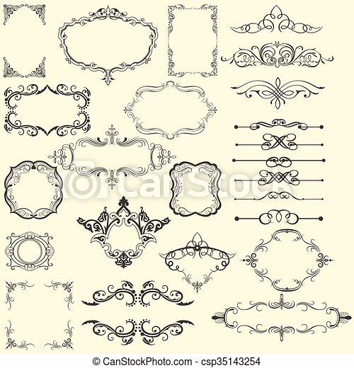Un marco vintage de adorno - csp35143254